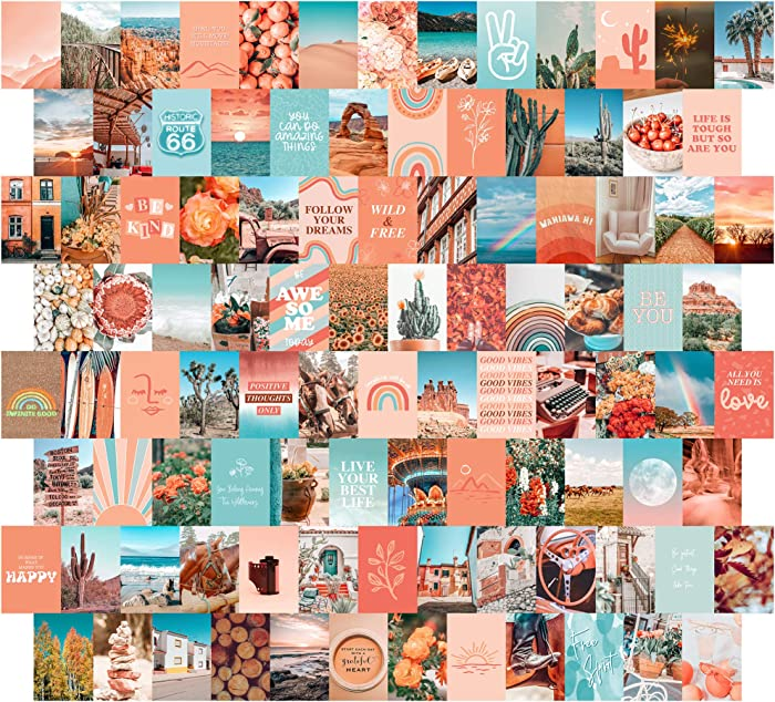 Peach Aesthetic Wall Collage Kit, 100 Set 4x6 inch, Room Decor for Teen Girls, Peachy Teal Wall Art Print, Dorm Photo Collection, Boho Posters for Room Aesthetic…