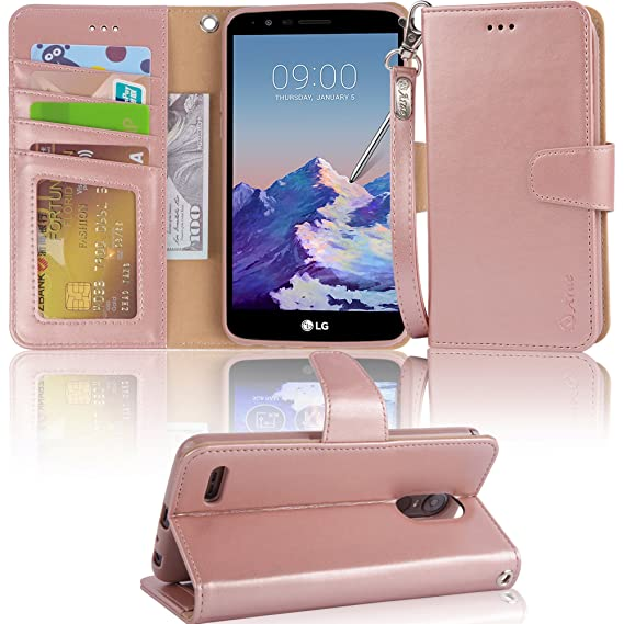 size 40 acb87 0271b LG Stylo 3 Case, LG Stylo 3 Plus Case, Arae LG G Stylo 3 Wallet Case with  Kickstand and Flip Cover, Rosegold