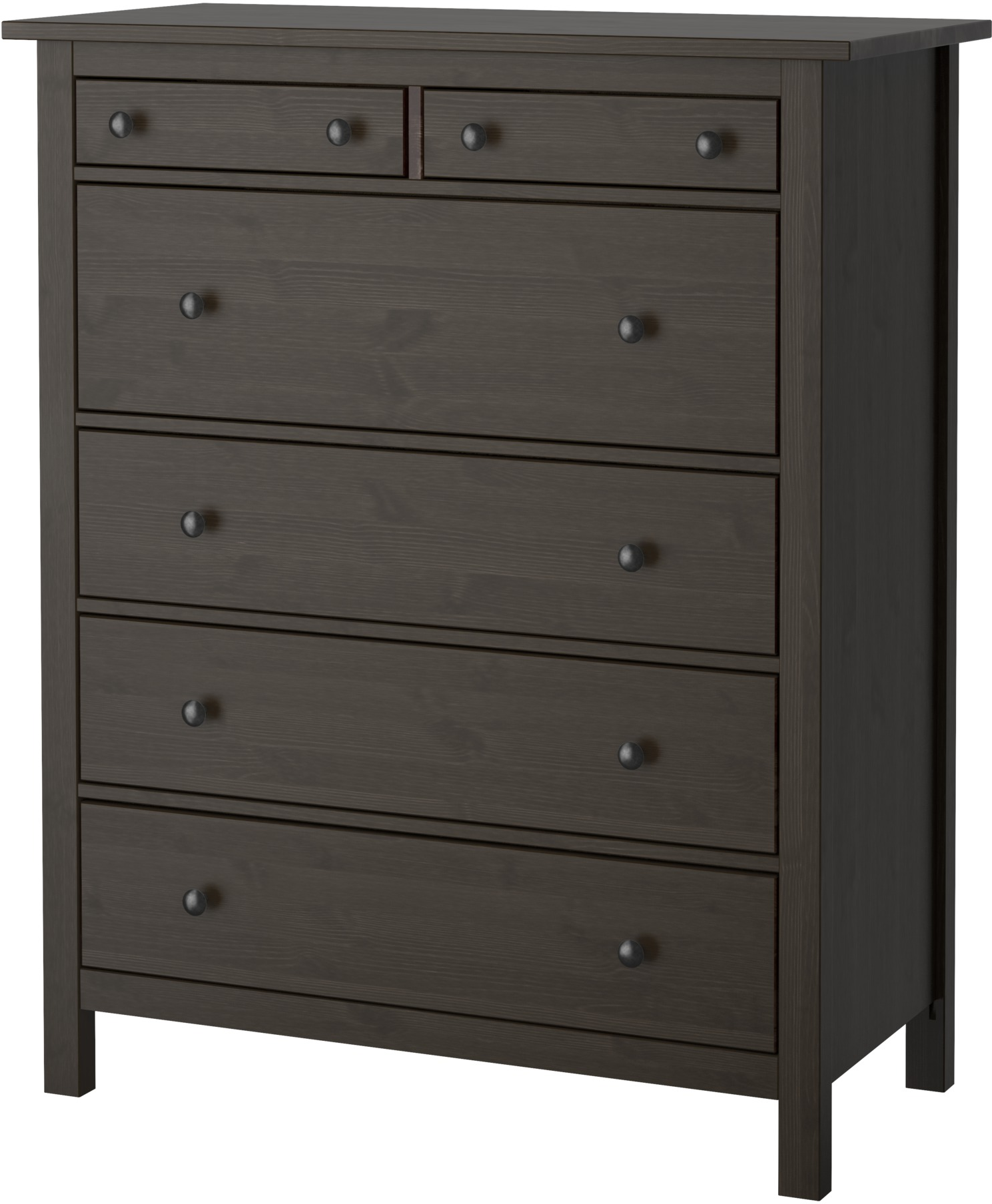 HEMNES 6-drawer chest - black-brown - IKEA