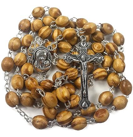 c05bd161904b Rosario con perlas de madera de olivo para oraci oacute n cat oacute lica