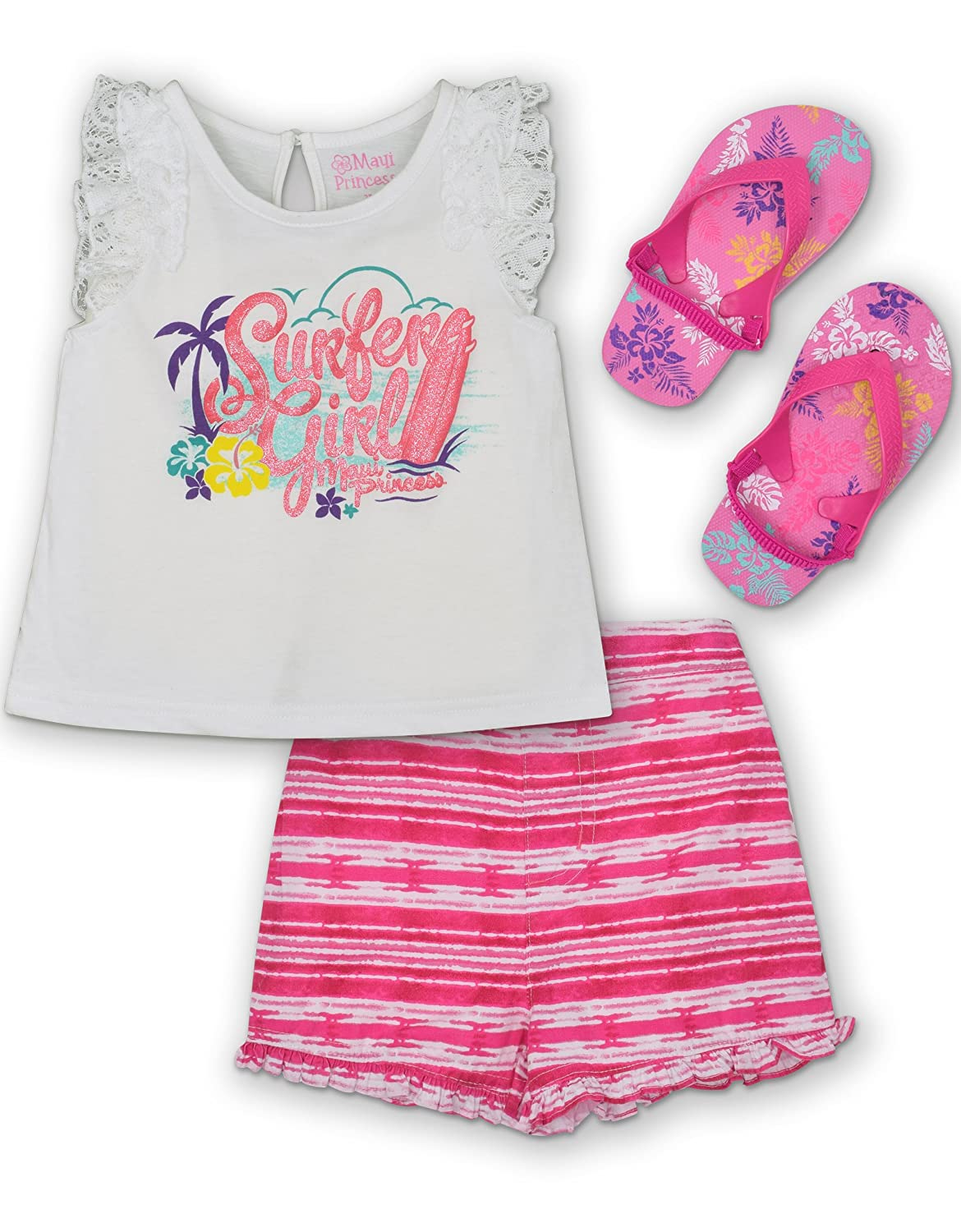 Maui & Sons Toddler Girls' 3 Piece Set: Ruffle Tank Top, Shorts and Flip Flops