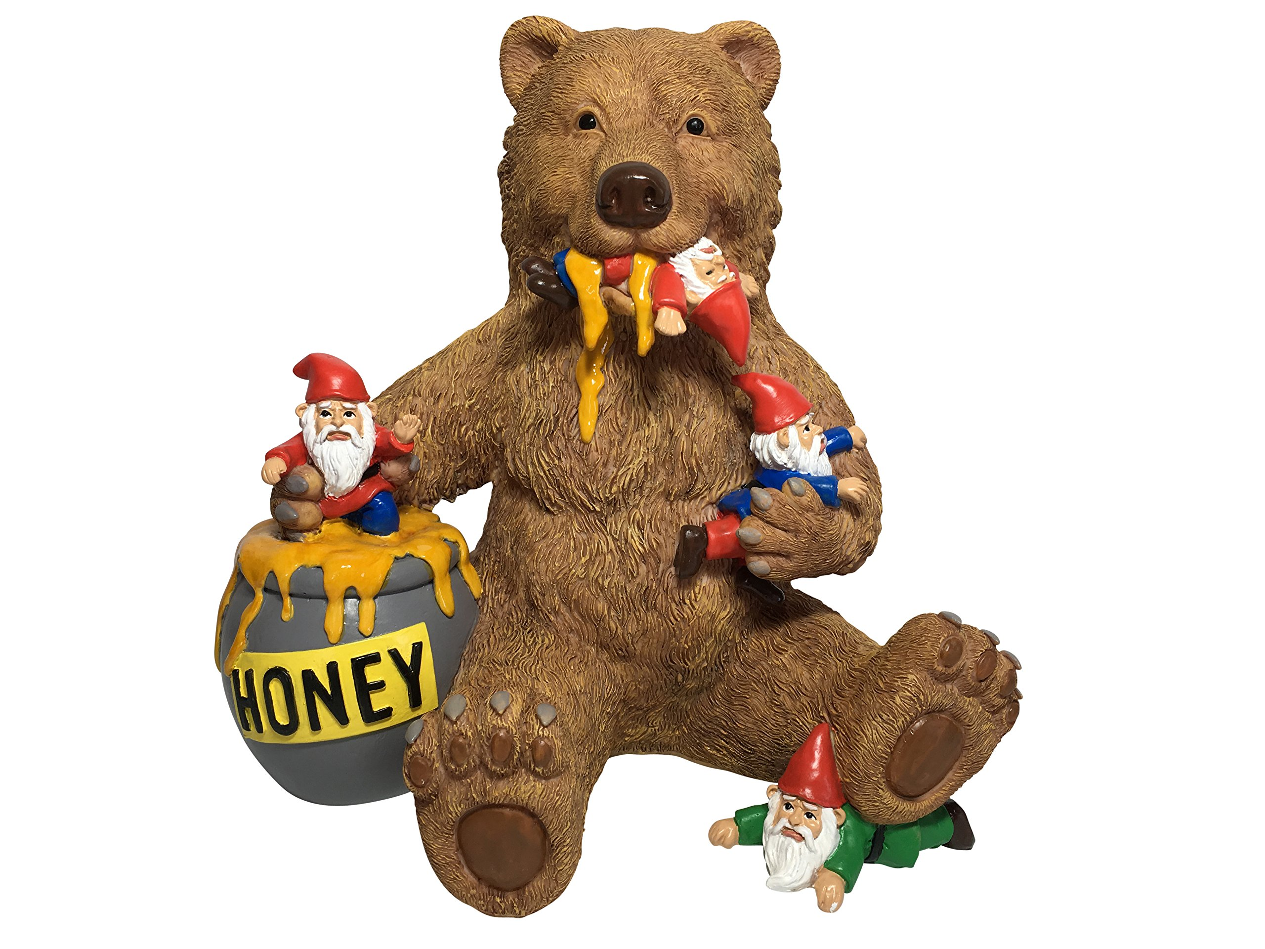 GlitZGlam Miniature Bear and Gnomes with Honey - A Garden Gnome Statue for your Fairy Garden