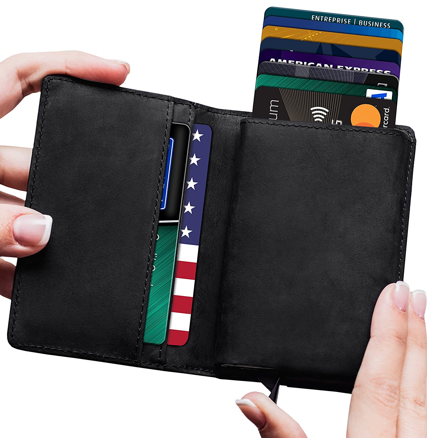 Lefada Us Men's Minimalist Leather Wallet RFID Blocking + Aluminum Card Holder v2.0