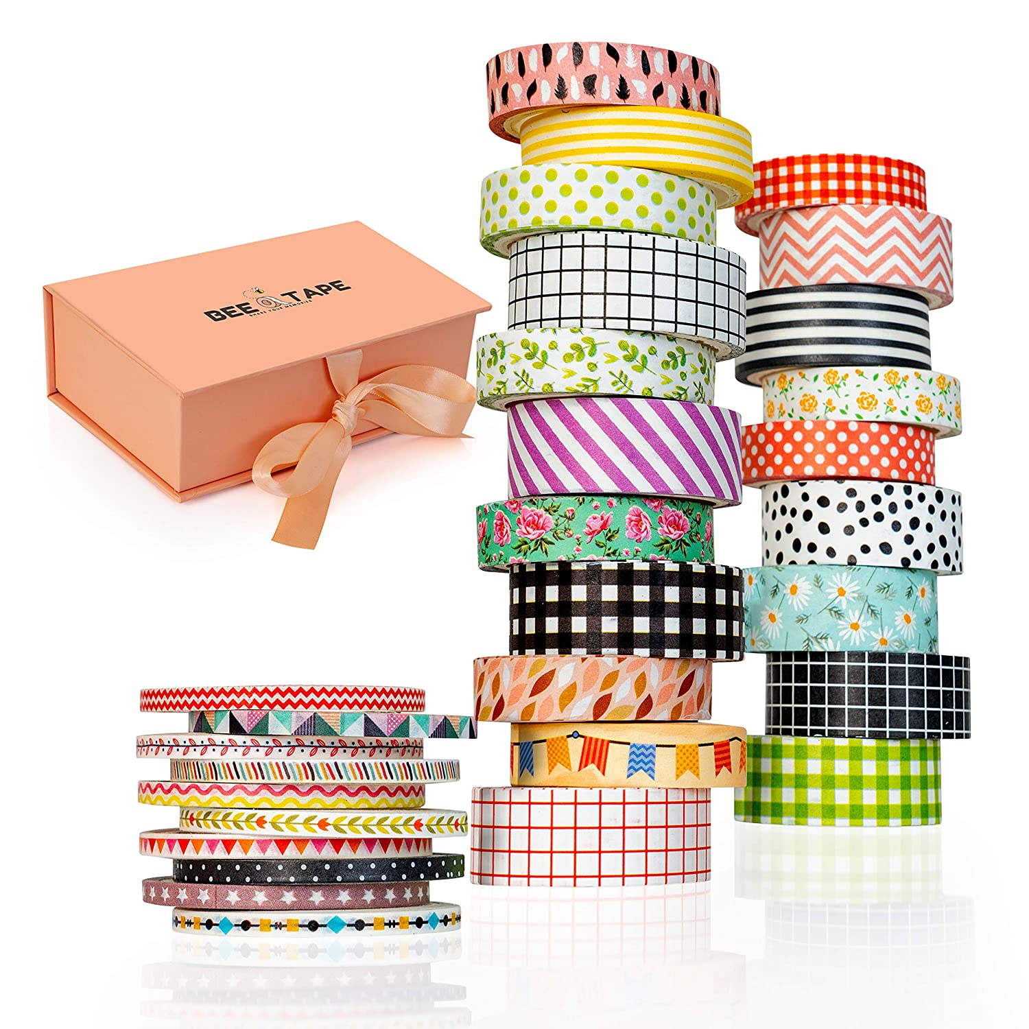 Washi Tape Set Gift Box, 30 Rolls 3 Sizes 15mm 10mm and 3mm Unique Arts and Crafts Gift, Decorative Masking Craft Tapes Perfect for Scrapbook, DIY Bullet Journal, Planner