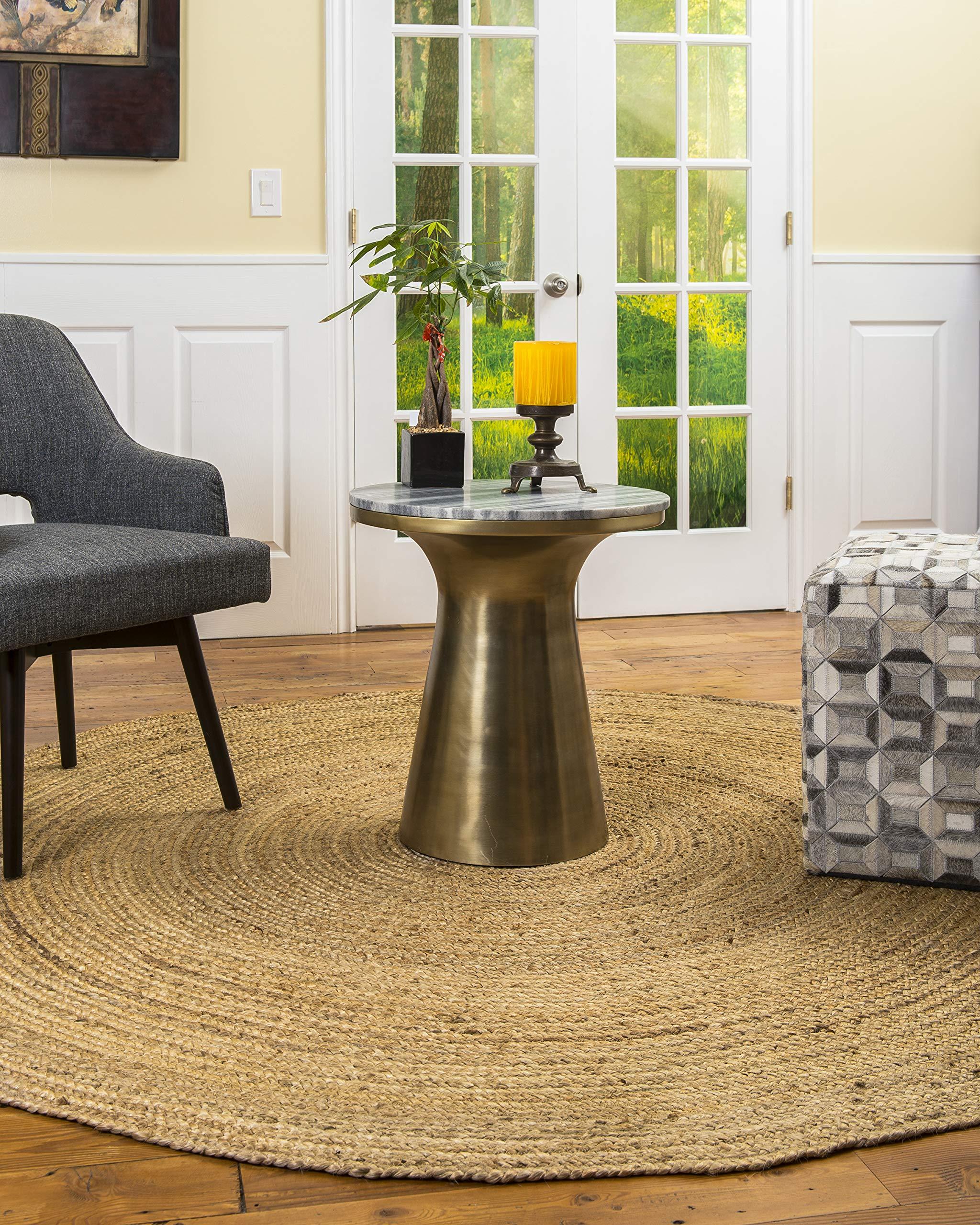 Natural Area Rugs 100% Natural Fiber Handmade Reversible Elsinore Jute 6' Round Rug Beige