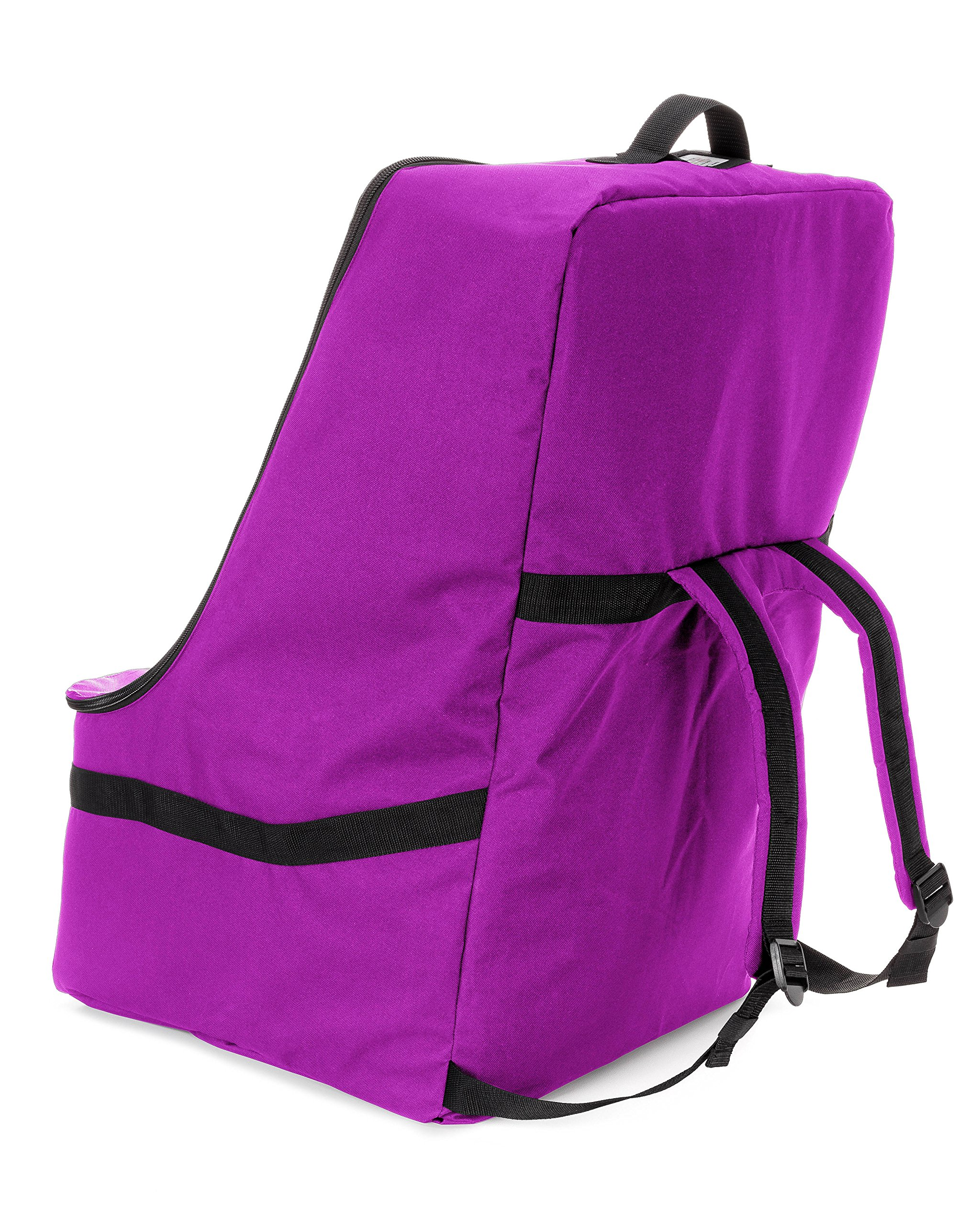 ZOHZO Car Seat Travel Bag — Adjustable, Padded Backpack for Car Seats — Car Seat Travel Tote — Save Money, Make Traveling Easier — Compatible with Most Name Brand Car Seats (Purple with Black Trim) by Zohzo (Image #4)