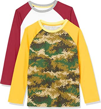 Amazon Essentials Long-Sleeve Raglan Baseball T-Shirts Niños, Pack de 2