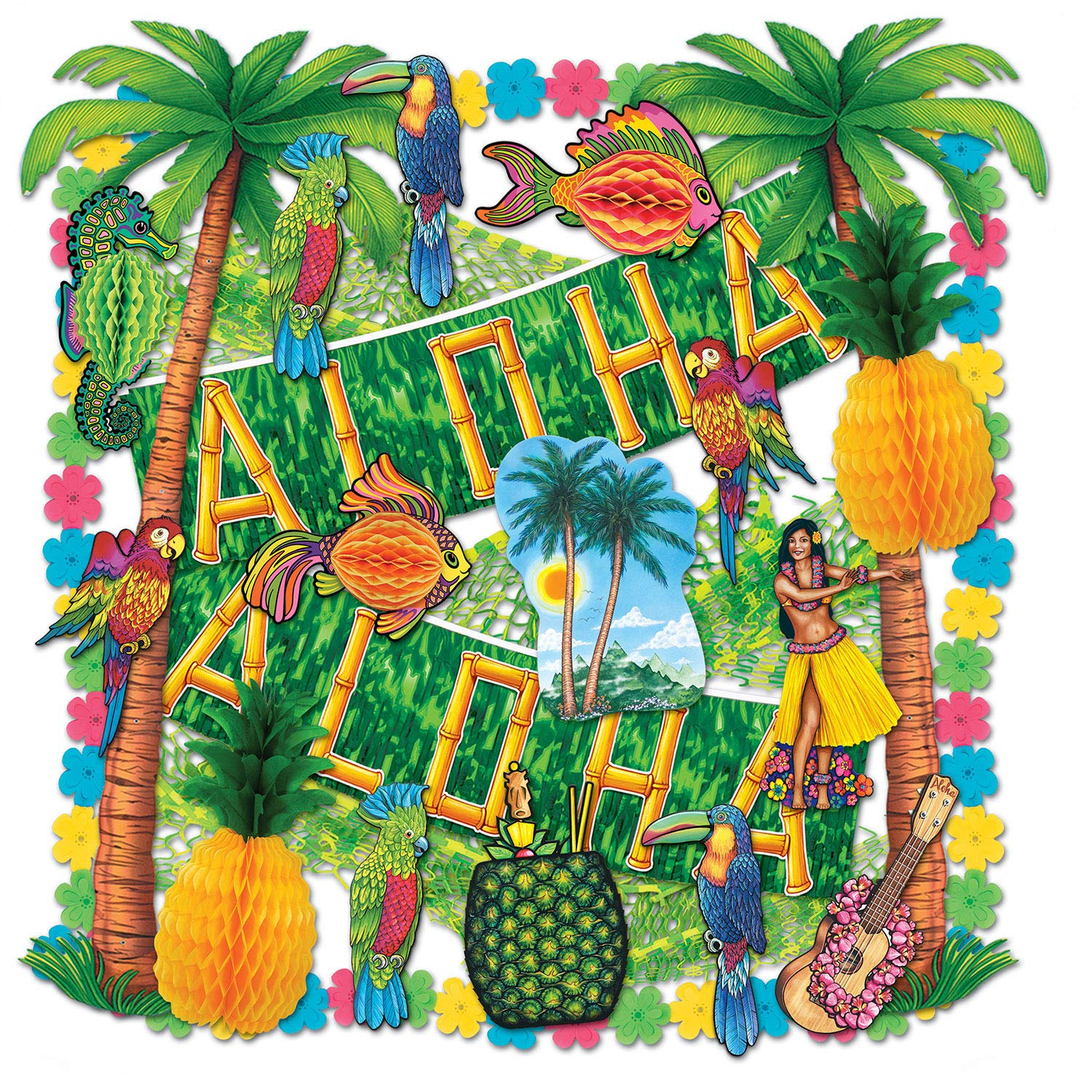 Beistle 55605 27-Piece Luau Decorating Kit