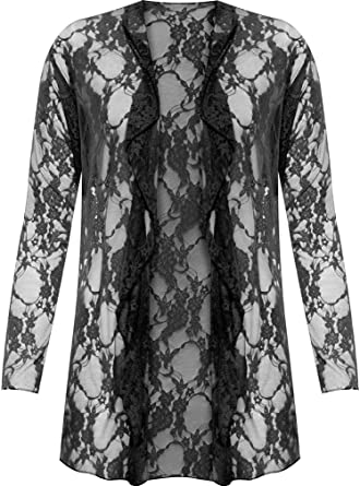 4f6e91032d4ca9 Plus Size Womens Floral Lace Open Cardigan Ladies Long Sleeve Waterfall Top  12-26: Amazon.co.uk: Clothing