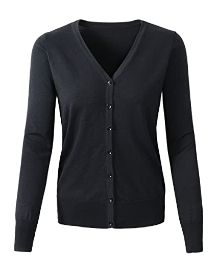 Womens V Neck Button Down Long Sleeve Basic Soft Knit Cardigan Sweater   Amazon.co.uk  Clothing 9a171678f