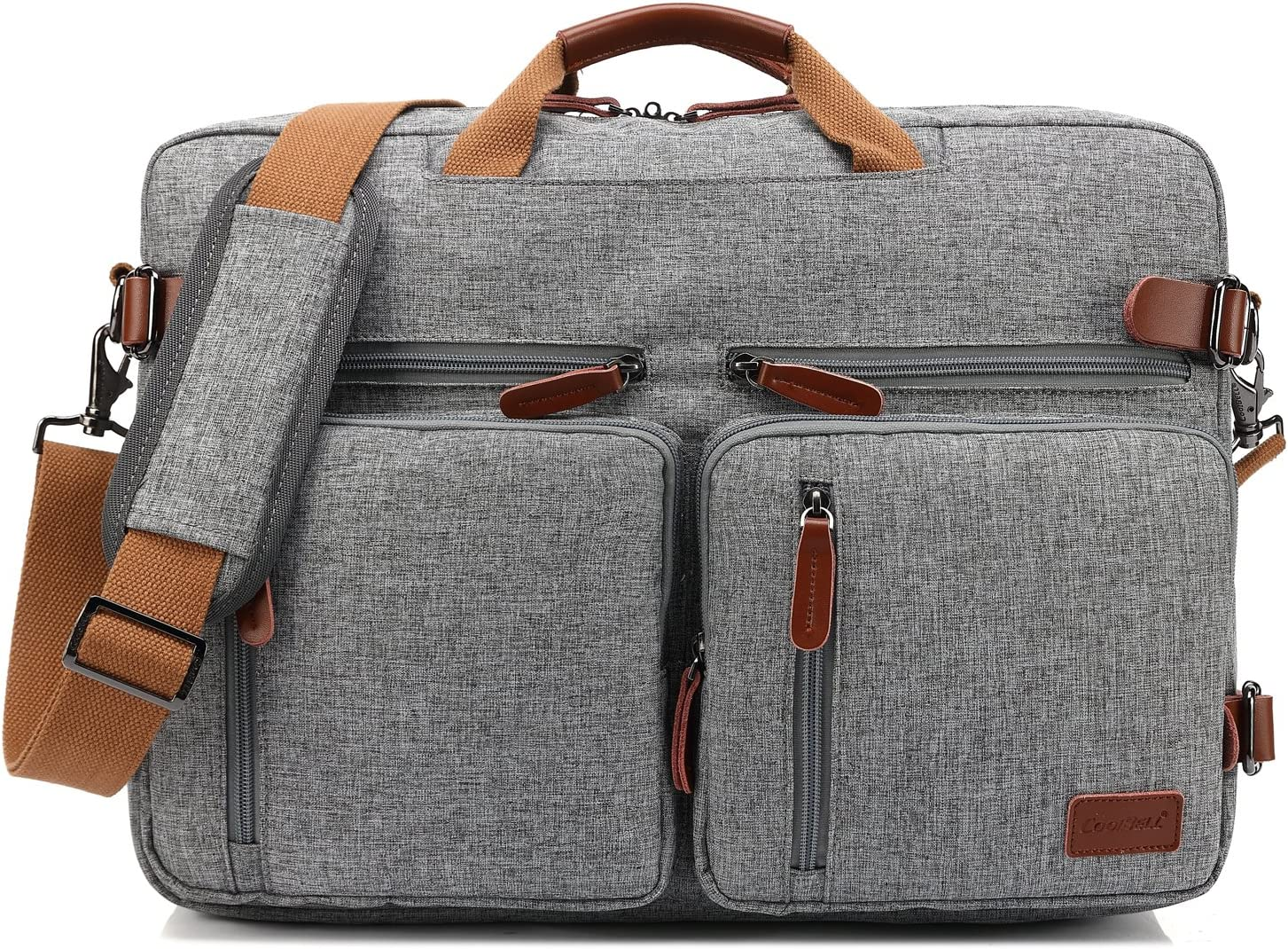 CoolBELL Convertible Backpack Messenger Bag Shoulder Bag Laptop Case Handbag Business Briefcase Multi-Functional Travel Rucksack Fits 15.6 Inch Laptop for Men/Women (Grey)