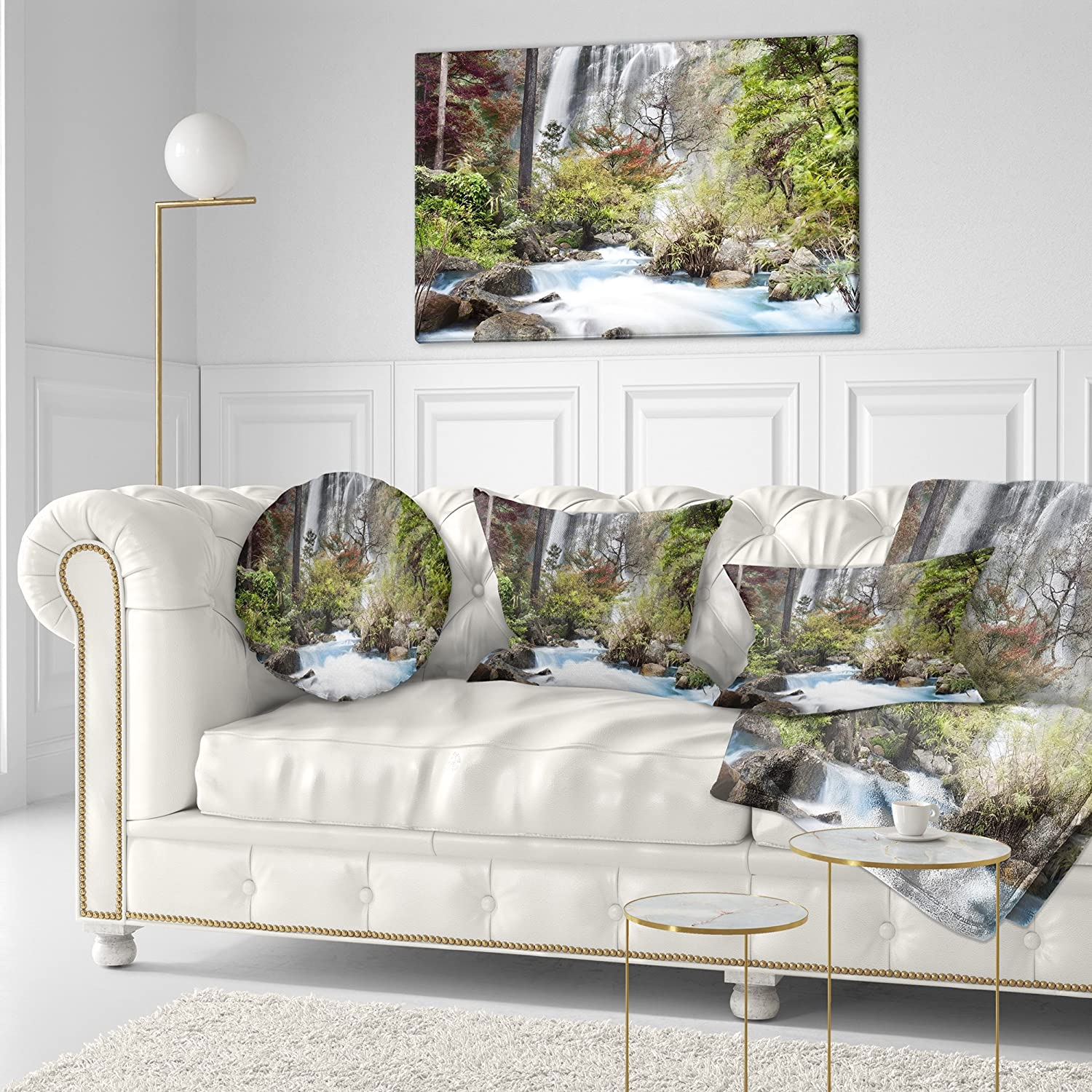 Insert Printed On Both Side Sofa Throw Pillow 20 Designart CU7121-20-20-C Blue Klonglan Waterfall Photography Round Cushion Cover for Living Room