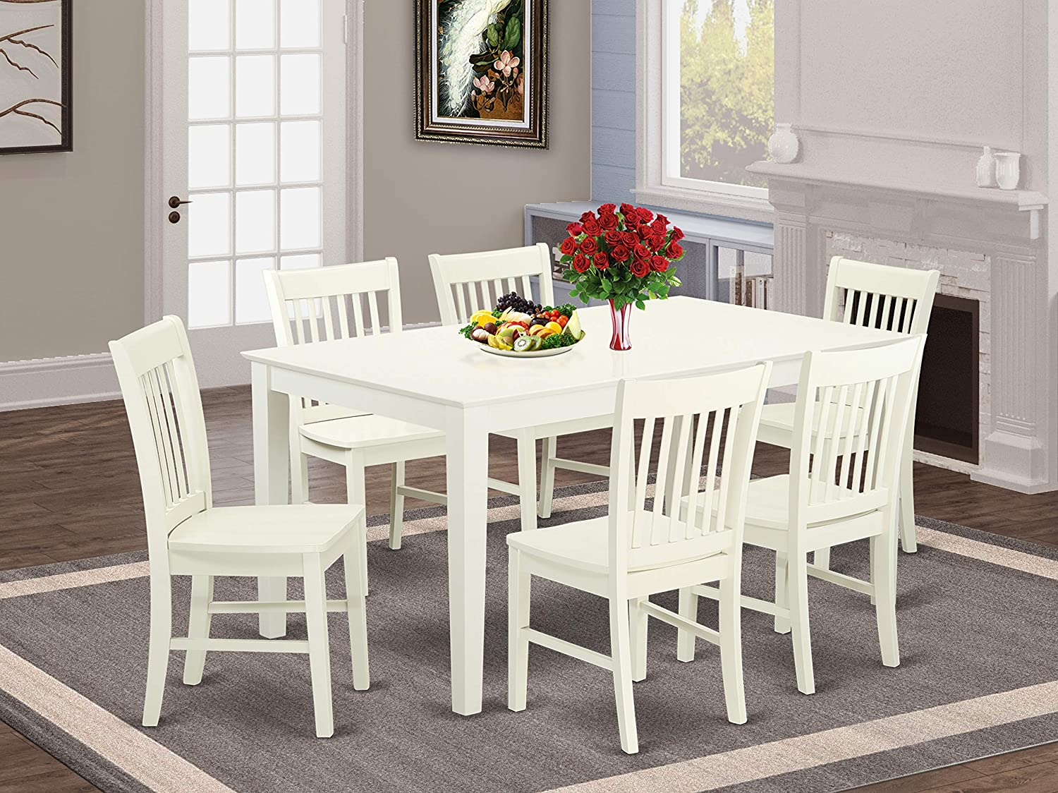 Amazon Com East West Furniture Cano7 Lwh W Rectangular Kitchen Set 7 Pc Wooden Modern Chairs Seat Linen White Finish Dining Room Table And Body 7 Pieces Furniture Decor