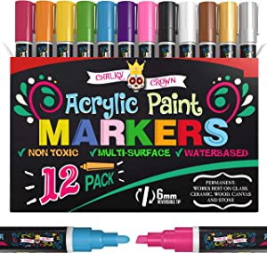 Acrylic Paint Markers - Acrylic Paint Pens for Rock Painting, Stone, Ceramic, Glass, Wood, Canvas - Reversible Tip Paint Pens- 6mm (12 Pack)