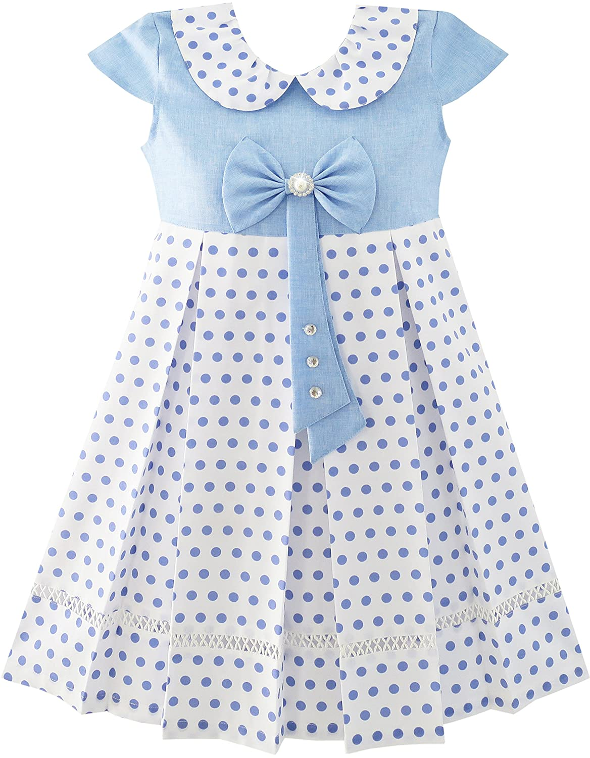 Sunny Fashion Girls Dress Polka Dot School Bow Tie Pearl Cap Sleeve Size 4-14