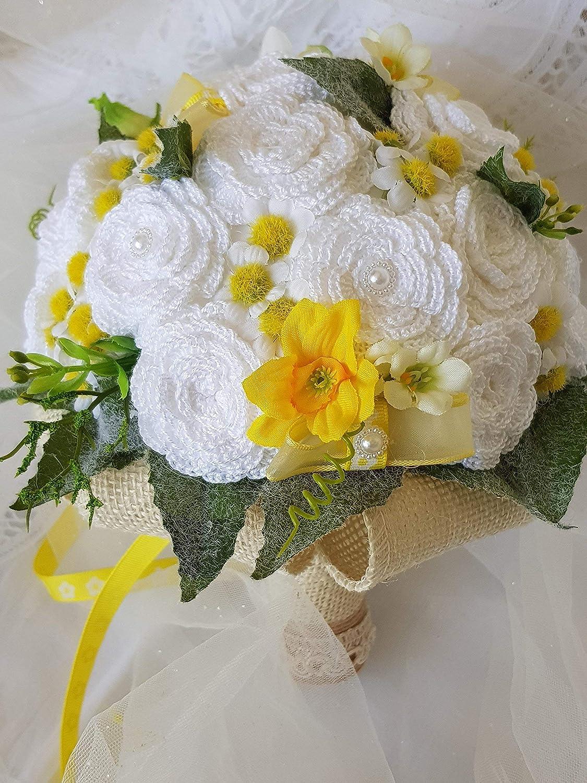 Bouquet Sposa Juta.Bouquet Sposa Shabby Chic Portafedi Composto Da Fiori Artificiali