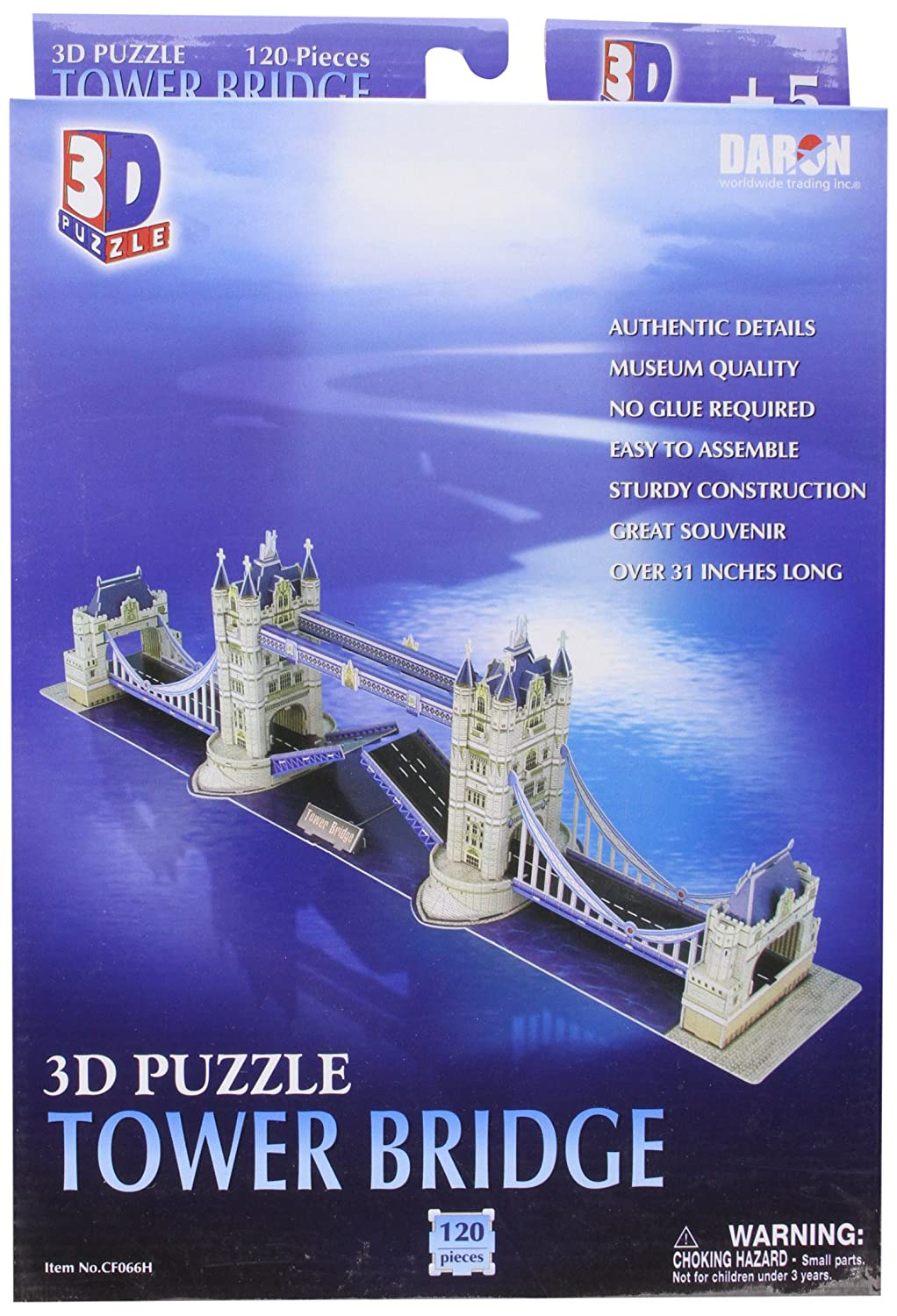 London Tower Bridge, 120 Piece 3D Jigsaw Puzzle Made by 3D-Puzzle CF066H
