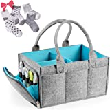 Large Baby Diaper Caddy Organizer | Nursery Storage Bin | Portable Car Seat Tote with Zipper Compartment & 5mm Heavy Duty Felt by Mollie Ollie