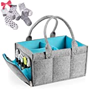 Premium Baby Diaper Caddy Organizer | Portable Nursery Storage Bin | Car Seat Tote with Zipper Pocket & 5mm Heavy Duty Felt by Mollieollie