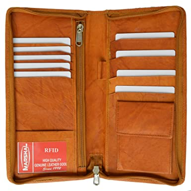 071d2c7ca636 RFID Blocking Zip Around Leather Travel Wallet with Passport and Boarding  pass Holder by Marshal (