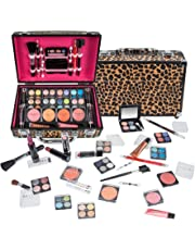 SHANY Carry All Makeup Train Case with Pro Makeup and Reusable Aluminum Case, Leopard