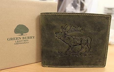 in pelle Portafoglio G1705-Stag 30 verde oliva per appassionati di caccia orizzontale Greenburry//lefox