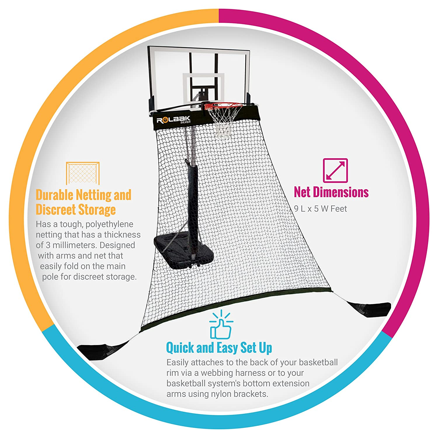 Amazon.com   Rolbak Silver Basketball Return Net with 2 Refillable Sand  Bags 4dce0a8f23c3b