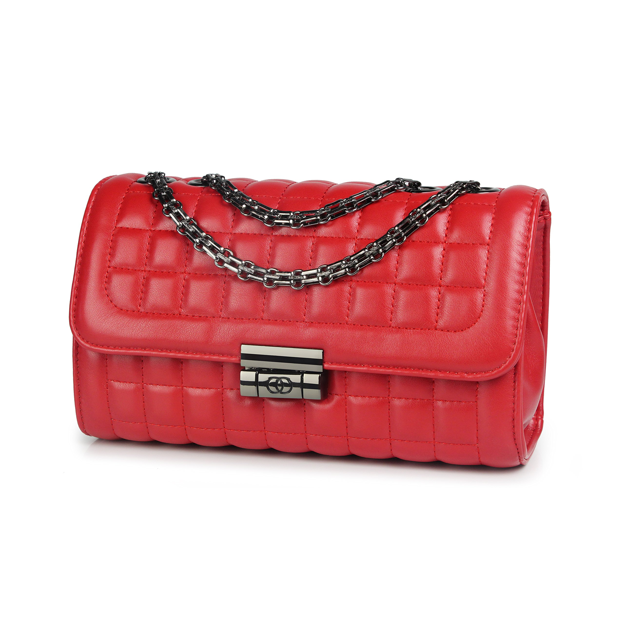 Women's Classic Quilted Crossbody Purse Shoulder Bags Metal Chain Satchel Handbags (Red)