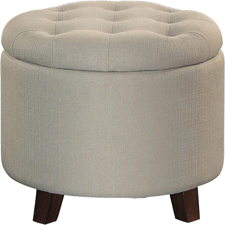 """Homelegance Cleo 20"""" Round Fabric Storage Accent Ottoman, Beige"""