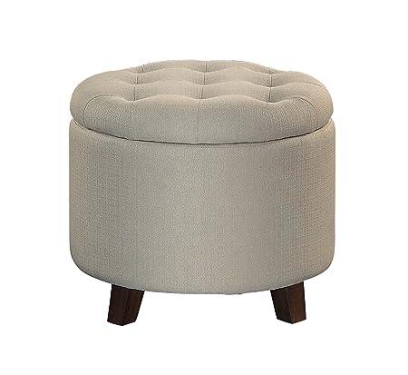 Homelegance Cleo 20 Round Fabric Storage Accent Ottoman, Beige
