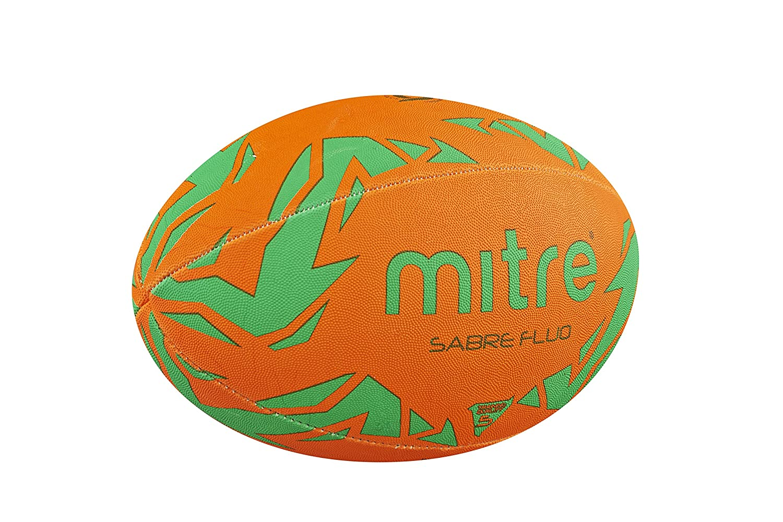 Mitre Sabre Rugby Training Ball Fluorescence Orange//Green Orange Size 4