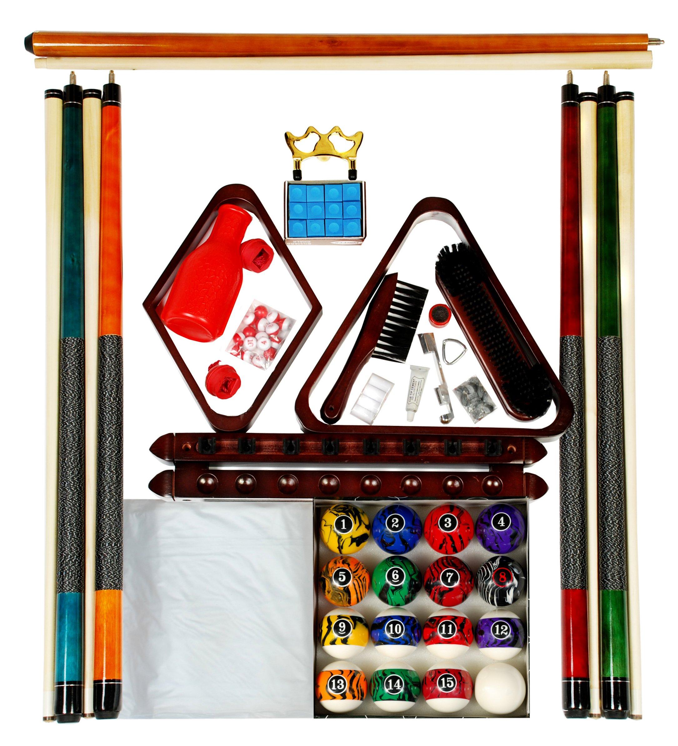 Billiard Pool Table Accessory Kit W/ Dark Marble - Swirl Style Ball Set Mahogany Finish