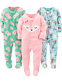 Simple Joys by Carter's baby-girls Baby 3-Pack Fleece Footed Pajamas