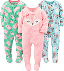 c0a54f3139f2 Simple Joys by Carter's Baby and Toddler Girls' 3-Pack Loose Fit Fleece  Footed