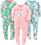 Simple Joys by Carter's 3-Pack Loose Fit Flame Resistant Fleece Footed Pajamas Bebé-Niñas, Pack de 3
