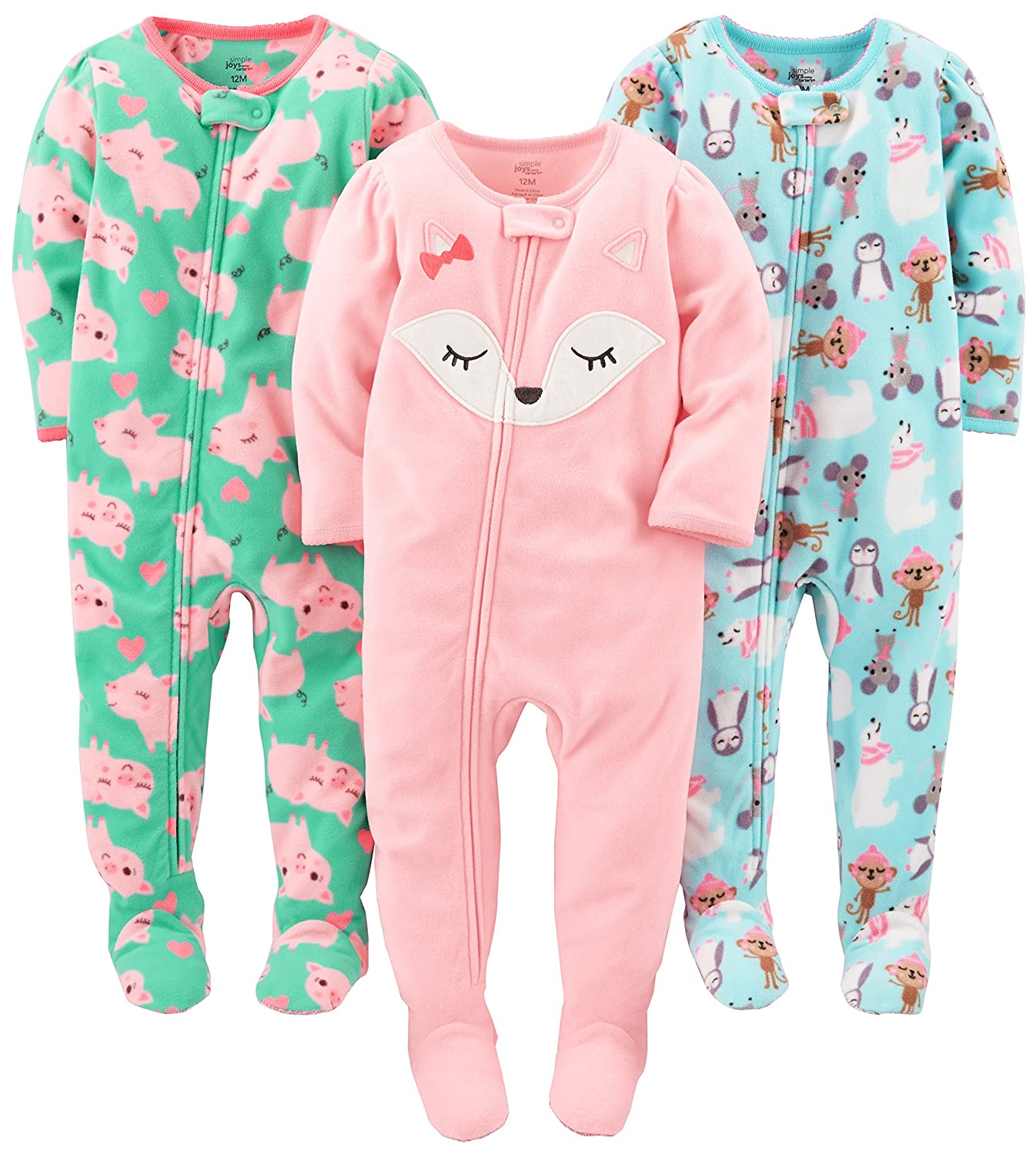 Simple Joys by Carter's Girls' 3-Pack Flame Resistant Fleece Footed Pajamas Simple Joys by Carter' s