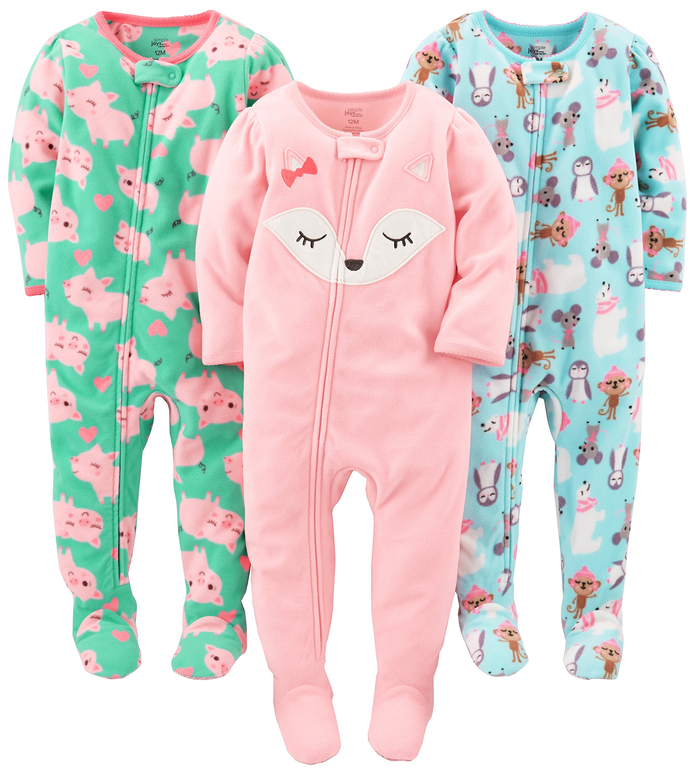 Simple Joys by Carter's Baby Girls' 3-Pack Flame Resistant Fleece Footed Pajamas, Polar Bear/Pigs/Fox, 12 Months