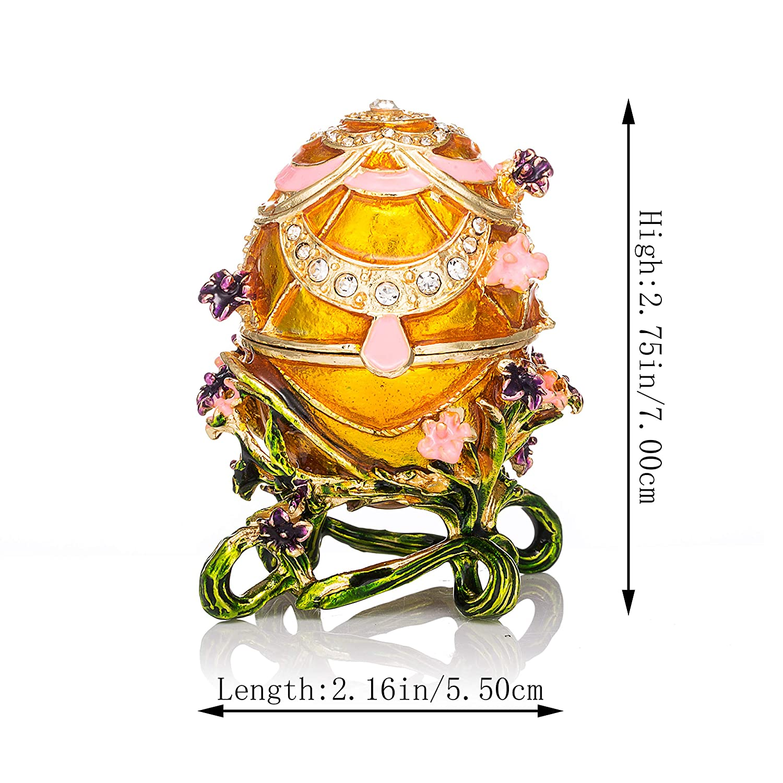 Regalo /Único para decoraci/ón del hogar qifu-hand pintado esmaltado estilo de m/úsica dise/ño de huevo de faberg/é decorativo con bisagras caja de joyas