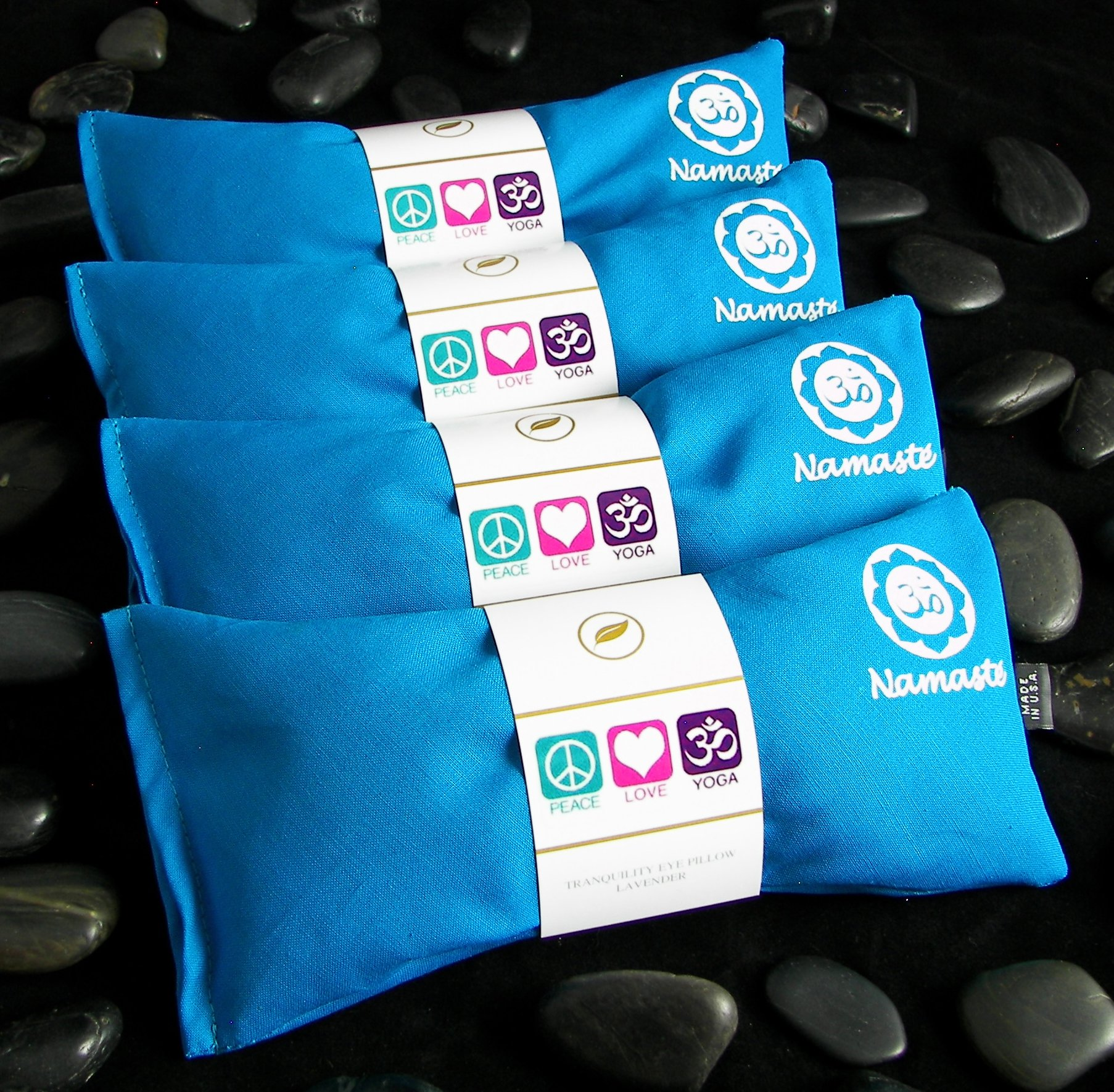 Happy Wraps Namaste Yoga Eye Pillows - Lavender Eye Pillows for Yoga - Weighted Aromatherapy Eye Pillow Mask for Yoga - Stress Relief and Relaxation Gifts Hot Cold Therapy - Set of 4 - Turquoise by Happy Wraps