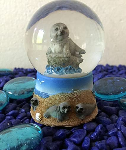 León marino náutico de cristal bola de nieve ~ sello de elefante d