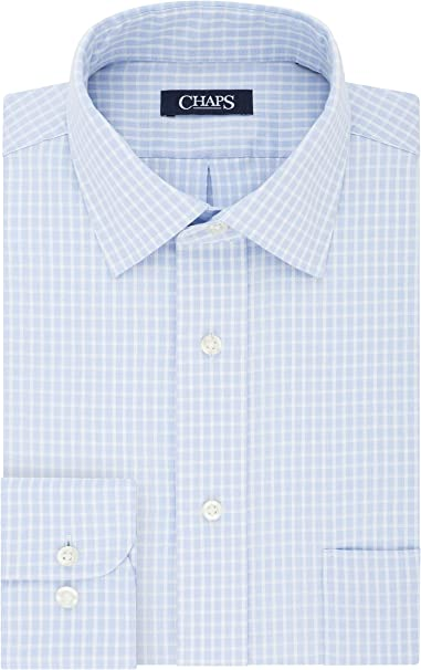 Chaps Mens Dress Shirt Regular Fit Stretch Collar Stripe