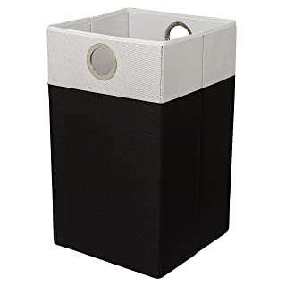 BIRDROCK HOME Folding Cloth Laundry Hamper with Handles - Dirty Clothes Sorter - Easy Storage – Collapsible Bin – Home Organization – Black and White