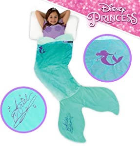 Blankie Tails Disney The Little Mermaid Ariel Mermaid Tail Blanket Super Soft Cozy Double Sided Minky Fleece Machine Washable for Kids- Climb Inside and Become The Little Mermaid