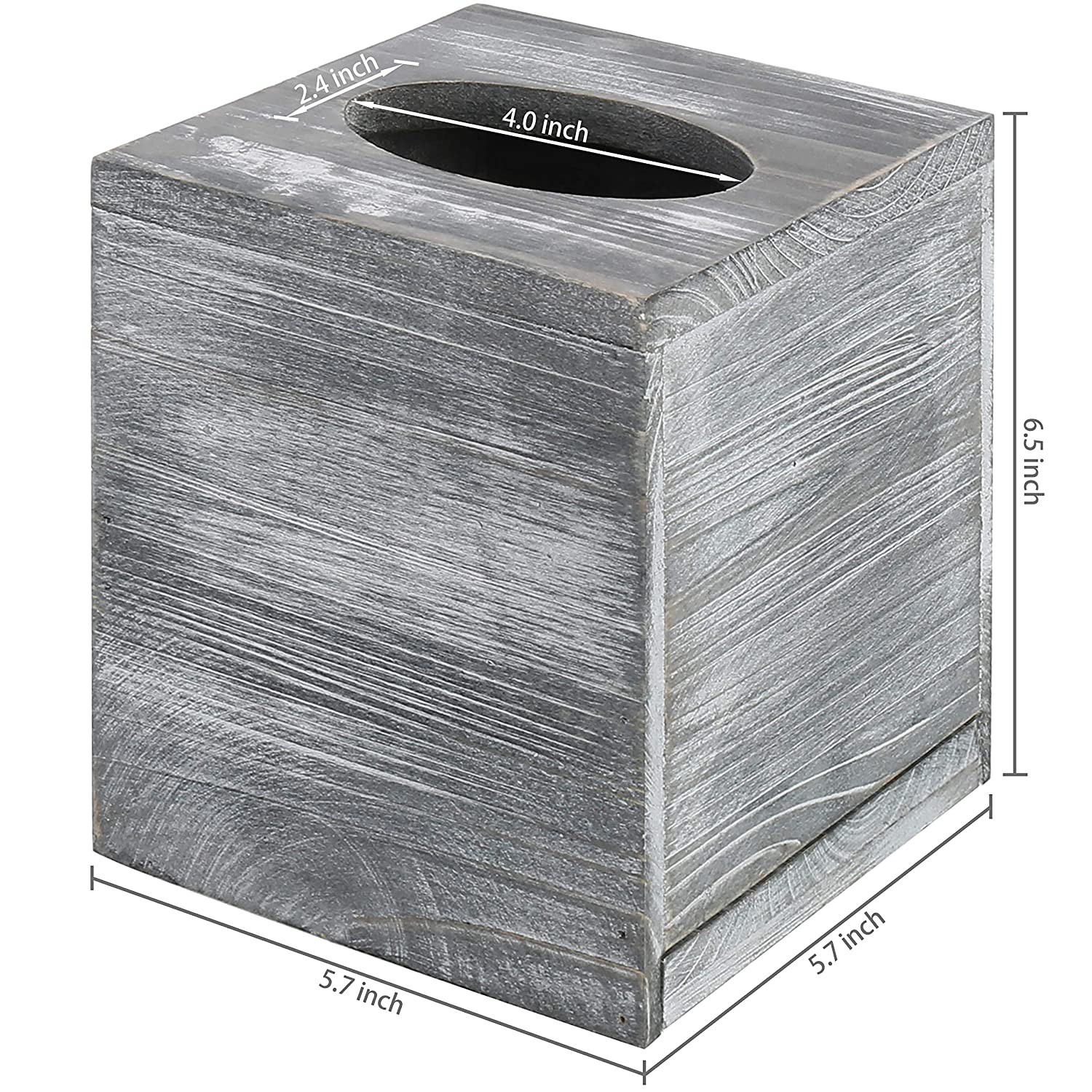 MyGift Vintage Gray Wood Square Tissue Box Cover with Slide-Out Bottom Panel