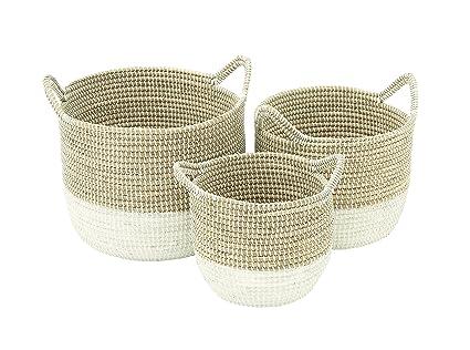 Deco 79 41145 Sea Grass Storage Basket (Set Of 3), 13u0026quot;/