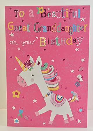 Cherry Orchard Unicorn Great Granddaughter Birthday Card