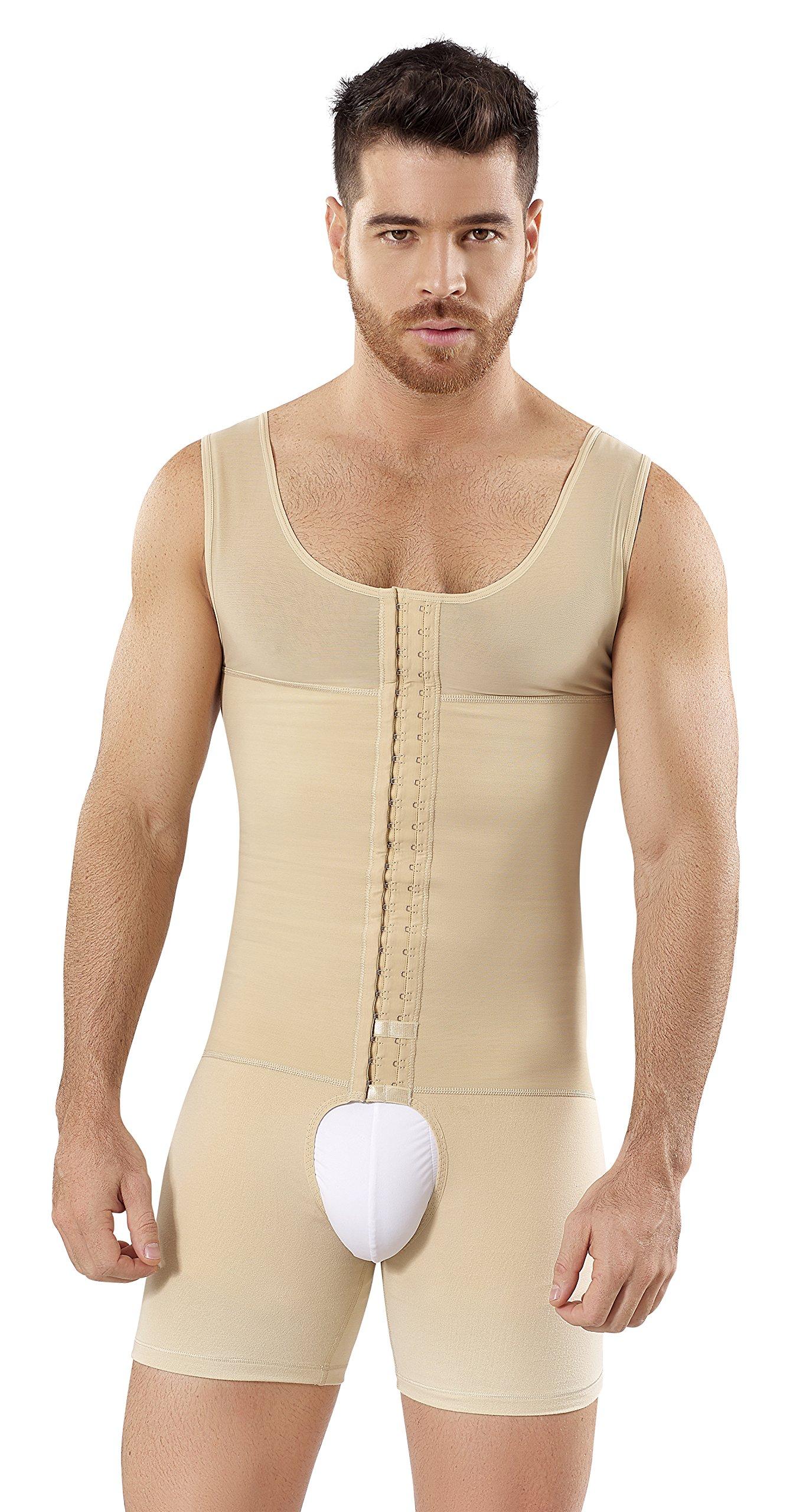 Fajas Colombianas Para Hombres Mens Girdle High Compression Garmen Shapewear Bodysuit Faja Body Shaper for Men SCH0061 (Beige, Medium)