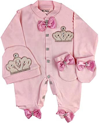 Baby Clothes Boy Girl Romper Fancy Bow Crown Gift Set