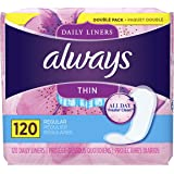 Always Thin Unscented Daily Liners, Wrapped, Regular Absorbency, 120 Count (Pack of 2)
