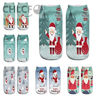 3D Christmas Socks Unisex Cartoon Elk Snowman Santa Socks Women Low Cut Ankle Christmas Socks Calcetines
